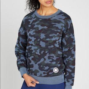 Sundry x SoulCycle blue camp sweatshirt